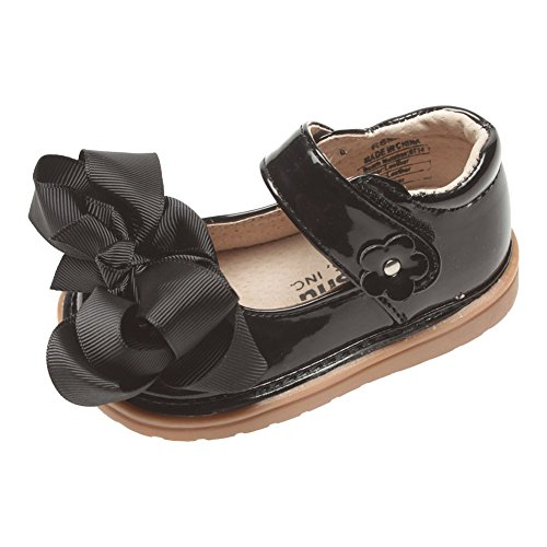 Mooshu Trainers Little Girls Black Patent Bow Squeaky Mary Jane Shoes 7 Toddler (Girls Childrens Trainers)