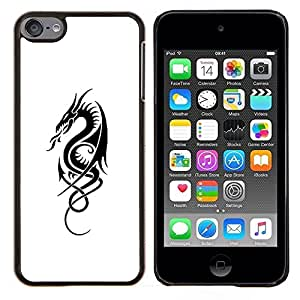 Planetar® ( Tinta Blanco Negro Tattoo Art Fuego ) Apple iPod Touch 6 6th Touch6 Fundas Cover Cubre Hard Case Cover