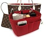 Felt Insert Fabric Purse Organizer Bag, Bag Insert In Bag with Zipper Inner Pocket Red L