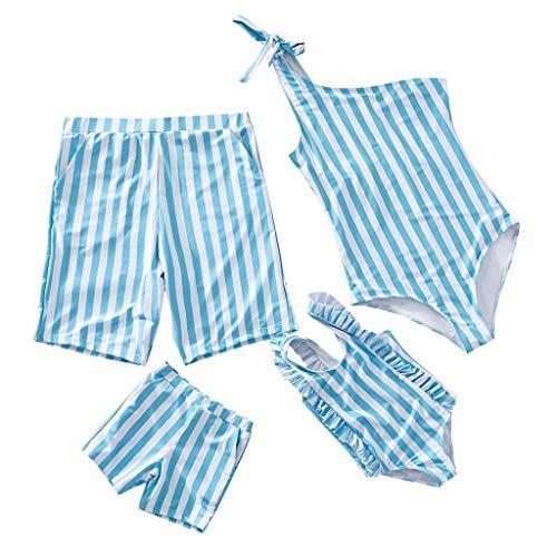 (Sunhusing Dad/Boys Stripe Print Swimming Trunks Mom/Girls Stripe Print Slings One-Piece Parent-Child)