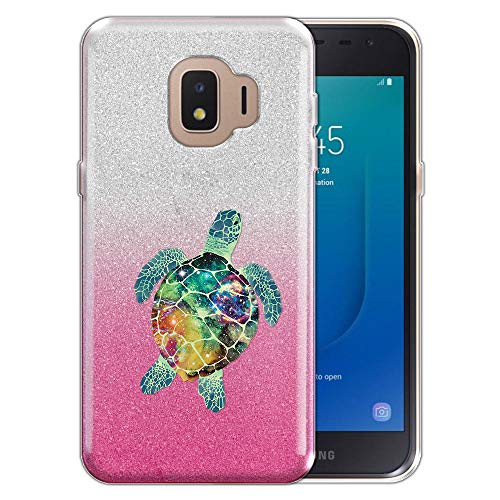FINCIBO Case Compatible with Samsung Galaxy J2 Core J260 5 inch 2018, Shiny Sparkling Silver Pink Gradient 2 Tone Glitter TPU Protector Cover Case for Galaxy J2 Core - Galaxy Sea Turtle