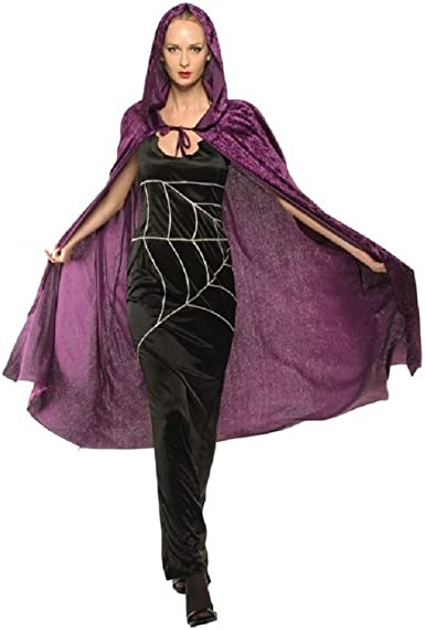 Ladies Purple Velvet Hooded Cape Halloween Costume Witch Sorceress Party Cloak