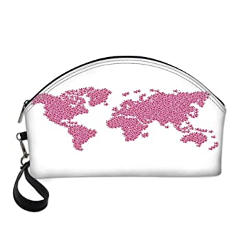 d2d7b7906b78 Floral World Map Small Portable Cosmetic Bag, Earth ... - Amazon.com