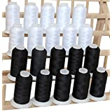 20 Cone Set Polyester Embroidery Thread 1000m Spools - Black/White (11 Different sets available)