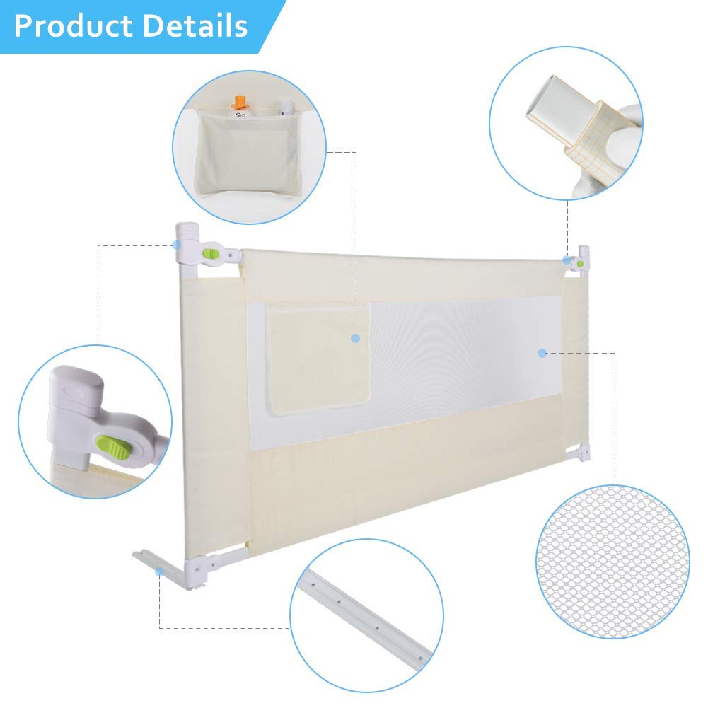 Barrera de cama port/átil plegable barandilla para cama infantil color beige para camas de madera maciza 150 * 68 cm barandilla para cuna