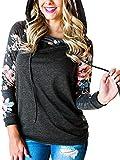 Women's Hoodie Tops Floral Long Sleeve Pocket Drawstring Pullover Sweatshirt