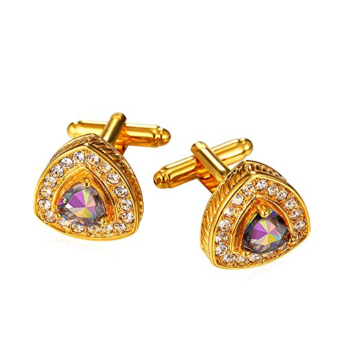 U7 Crystal Rhinestone CZ Cuff Links Men's Wedding Business Shirt Cufflinks - 18K Gold Plated
