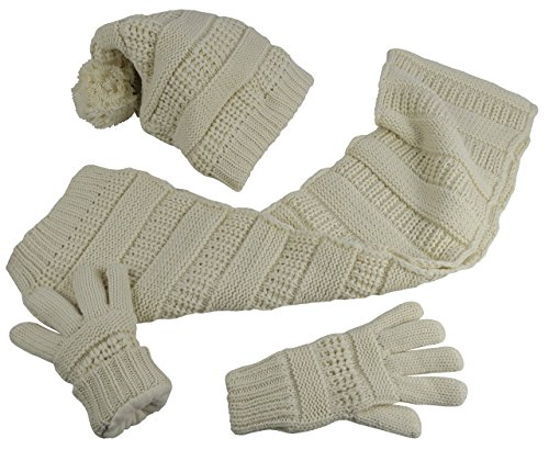N'Ice Caps Big Girls 8-12 Years Solid Cable Knit Hat/Scarf/Glove Accessory Set (8-12 Years, Winter White)