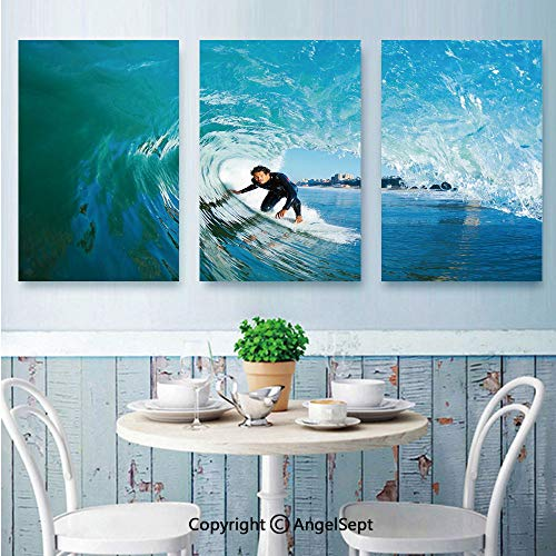 AngelSept Canvas Prints Wall Art,Extreme Sportsman Surfer Inside Barreled Wave Fun Action Holiday Vacation,for Home Decor,24