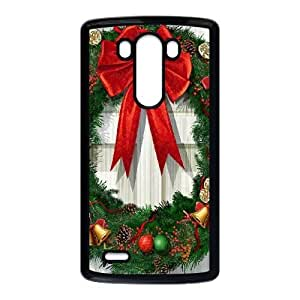 Durable Hard cover Customized TPU case Christmas Wreath LG G3 Cell Phone Case Black