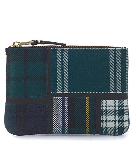 Comme Des Garçons Wallet Men's Comme Des Garçons Green Tartan Patchwork Wool Wallet Green