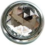 Diamond Head Upholstery Tack Crystal Stone, White Diamond, 20mm in Silver Setting