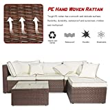 MOOSENG Garden Corner Sofa Rattan Set,Patio