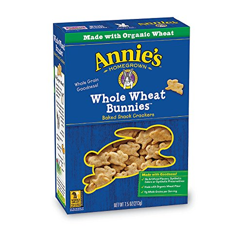 Baked Whole Grain Wheat Crackers - Annie's Whole Wheat Bunnies, Baked Snack Crackers, 7.5 oz (Pack of 12)