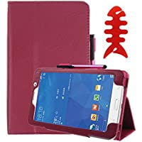 TLT Retail Leather Case Stand Cover with 1Pc Stylus Pen + 1Pc Screen Protector Film + 1Pc Cable Winder for Samsung Galaxy Tab 4 7Inch Tablet SM-T230 SM-T231 (Hot Pink)
