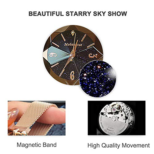 RORIOS Fashion Analogue Quartz Watches Magnetic Mesh Band Starry Sky Dial Simulated Diamond Wrist Watches for Girl/Ladies Waterproof by RORIOS (Image #3)