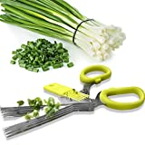 Herb Scissors Stainless Steel |Multipurpose Kitchen Scissors with 5 Blades and Easy Cleaning Comb |For Cutting/Mincing/Chopping herbs (Green)
