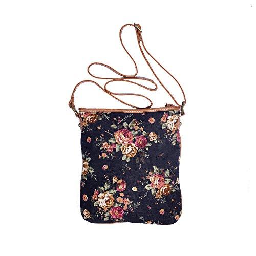 Roses Front w Long Strap Vintage Fabric Crossbody Messenger Lace Pocket amp; Purse Black amp; Floral Fqz85