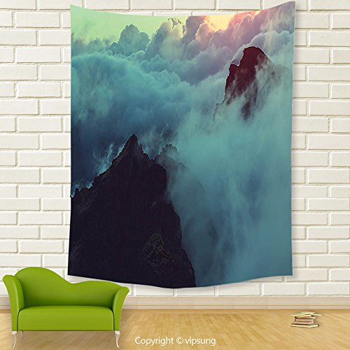Vipsung House Decor Tapestry_Apartment Decor Collection Hills In The Large Cumulus Clouds Magical View Mountains Tranquility Nature Decor Blue_Wall Hanging For Bedroom Living Room (Garden Hill Halloween 2017)