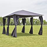 Tangkula Outdoor 10'x13' Gazebo, Fully Enclosed Canopy Tent Shelter, Awning Garden Patio Wedding Tent