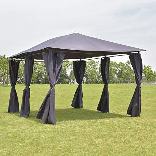 Tangkula 10'x13' Gazebo Fully Enclosed Canopy Tent Shelter Awning Garden Patio (Grey) (Enclosed Patio)