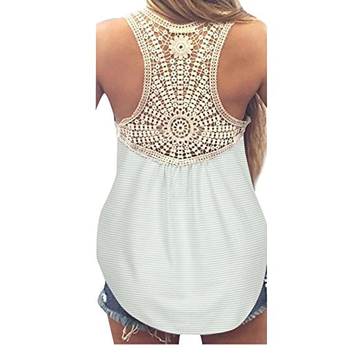 Sexy Casual Loose Lace Stripe Cotton Blouse Vest Tank Tops (XL, Mint Green) ()