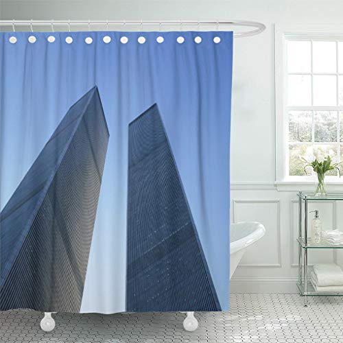 Semtomn Shower Curtain Mirror New York USA View Up at Twin Towers 66