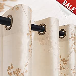 Floral Embroidered Curtains for Bedroom 95 inches Long Faux Silk Semi Sheers Embroidery Window Curtain for Living Room Drapes Grommet Top 2 Panels Ivory
