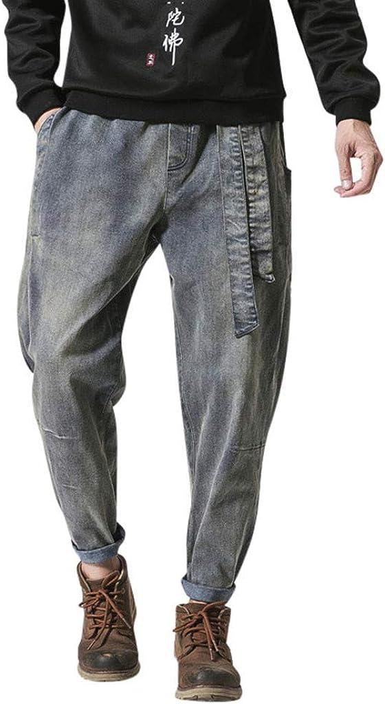 Chihop Salopette da Uomo con Jeans Tuta di Jeans Strappati Moda Uomini Denim Slim Tasche S-2XL
