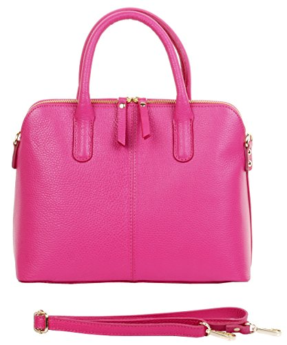 Primo Sacchi Italian Textured Leather Pink Bowling Style Tote Grab Bag or Shoulder Bag ()