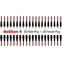 BeElion 40-Pack 2.1 x 5.5mm DC Male and Female Power Pigtail Cable, 20PCS Female10 inch(30cm)2.1 x 5.5mm DC Power Pigtail MALE+ 20PCS 2.1 x 5.5mm DC Power Pigtail Female