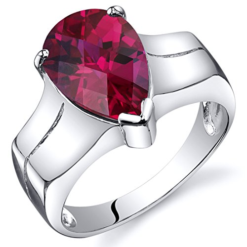 Created Ruby Solitaire Ring Sterling Silver Rhodium Nickel Finish Pear Shape 3.75 Carats Size (Cut Created Ruby Solitaire Ring)