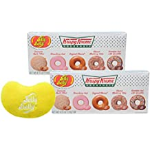 By The Cup Gift Set - Jelly Belly Krispy Kreme Doughnuts, 4.25 Ounce Gift Box (Pack of 2) - with Jelly Bean Emoji Mini Plush Toy