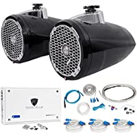 (2) Rockford Fosgate PM2652W-B 6.5 Marine Wakeboard Speakers+Amplifier+Amp Kit