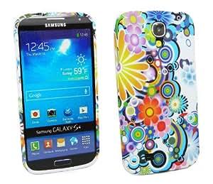 Kit Me Out ES ® Funda de gel TPU + Cargador para coche + Protector de pantalla con gamuza de microfibra para Samsung Galaxy S4 i9500 - Multicolor Círculos con flores