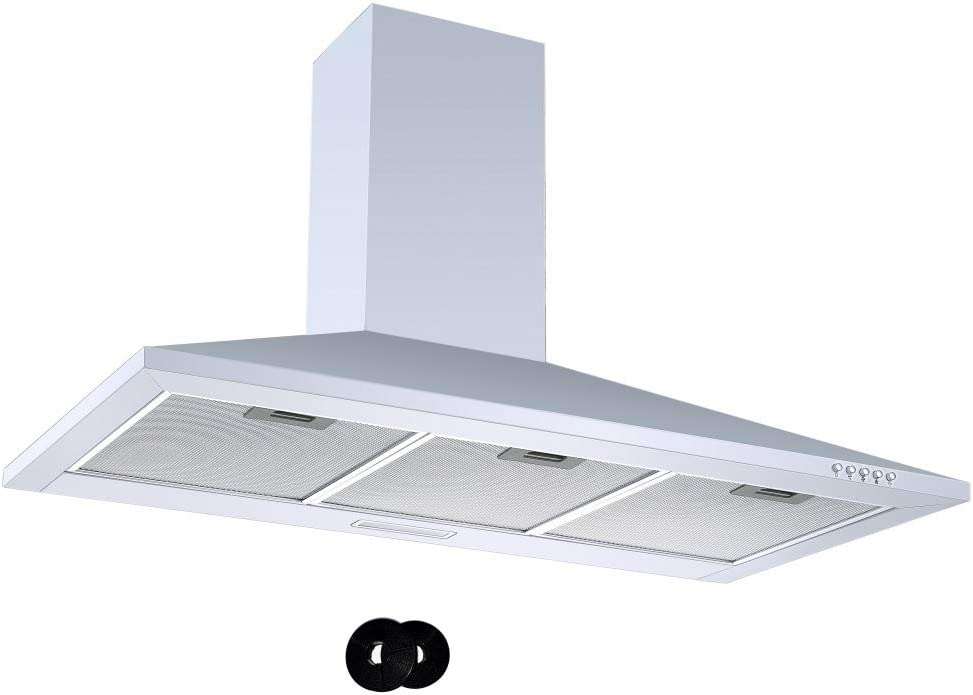 ookology CH900WH White Chimney Cooker Hood 90cm Kitchen Extractor Fan /& Filters