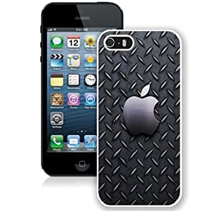 NEW Unique Custom Designed iPhone 5S Phone Case With Metallic Pattern Apple Logo_White Phone Case