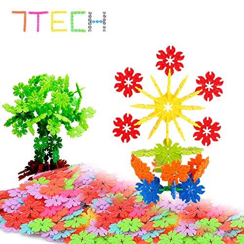 7TECH Interlocking Snowflake Building Blocks STEM Educational Toys - 300 Piece Set of Plastic Discs for Preschool, Toddler and School Boys and Girls
