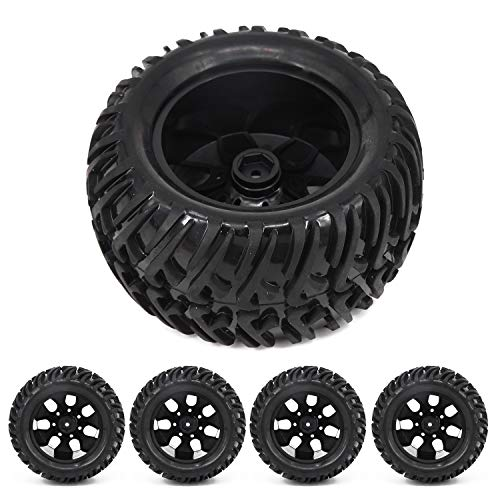 Rial Wheels - Set Car 12mm Wheel Rim & Tires for HSP 1:10 Monster Truck RC Racing 88005 Acc