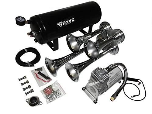 Viking Horns Loud 145 Decibels Four Trumpet Train Air Horn System Kit With 150 PSi Compressor and 1.5 Gallon Air Tan Train Horn System