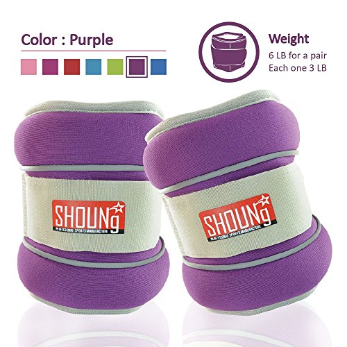 SHOUNg Reflective Ankle/Wrist Weights (1 Pair) with Adjustable Strap for Fitness, Workout, Exercise, Walking, Jogging, Gymnastics, Aerobics and Gym(1lb 2lbs 3lbs 4lbs 5lbs 6lbs 8lbs 10lbs)