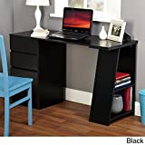 TMS Modern Writing Computer Desk. Blend Modern Design and Function. Includes Shelves and Drawers for Storage. Perfect Office, Dorm Room, or Appartment Furniture (Black) Review