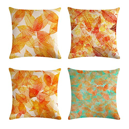 - 7ColorRoom Autumn Decorative Pillow Covers Watercolor Maple Leaves Cushion Cover Golden Fall Leaves Home Decor Pillowcases for Couch Sofa 18