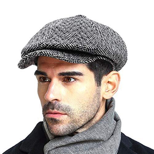 Men's Newsboy Gatsby Hat Vintage Beret Flat Ivy Cabbie Driving Hunting Cap for Boyfriend Gift White Black