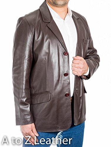 Uomo del Brown scuro classicoo casualee astuto Di cuoio del tasto Tailored dotati tre Giacca Blazer