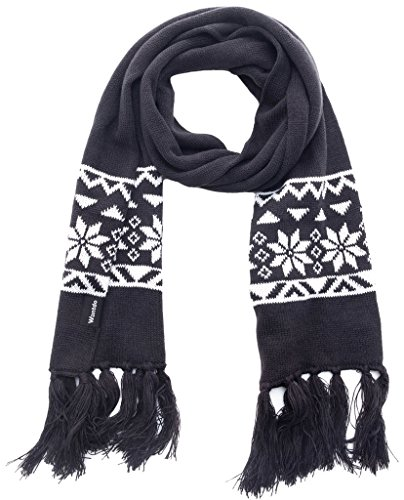 Snowflake Thermal (Wantdo Unisex Chunky Knit Scarf Snowflake Patterned Christmas Gift with Tassel)