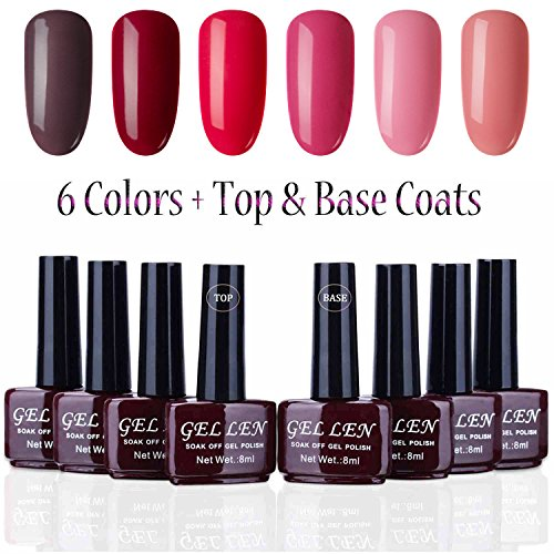 Gellen UV Gel Nail Polish Kit 6 Colors + Base & Top Coats 8m
