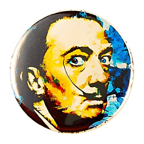 Salvador Dali Pin - Pinback button by Mark Lewis Art - am - hand signed collectible (Lewis Hand Signed)