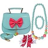 kilofly Little Girl Handbag + Ribbon Bow Hair Clip + Necklace + Bracelet Set