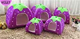 Prettysell Strawberry Cotton Soft Dog Cat Pet Bed House Sponge Dome Tent Bed Cushion Nest(Purple,S)